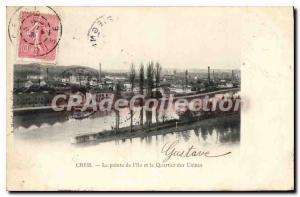 Postcard Old Pointe De Creil I'Ile And Quartier Factories