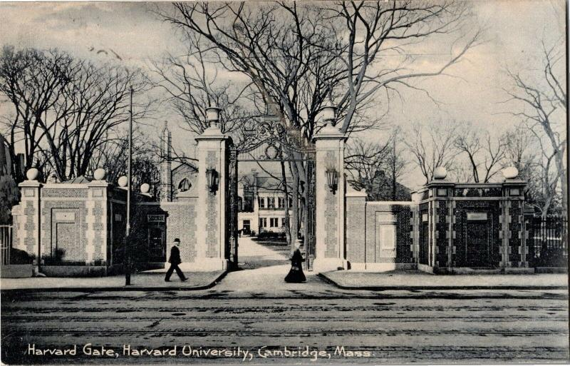 Harvard Gate, Harvard University Cambridge MA c1910 Vintage Postcard Y11