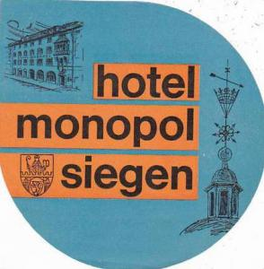 GERMANY SIEGEN HOTEL MONOPOL VINTAGE LUGGAGE LABEL