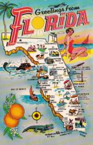 Greetings From Florida With Map 1967