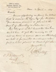 OTTAWA , Ontario, Canada, 3 April 1864 ; Barrister Letter