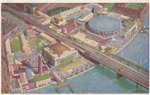 South Bank Exhibition From The Air 1950s Aerial London Artist Drawing Postcard