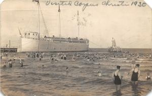 F27/ Corpus Christi Texas RPPC Postcard 1930 High Dive Swim Ship