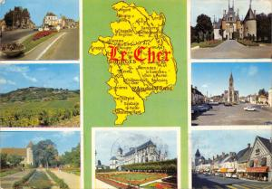 Vintage 1973 Postcard Map & Multiview, Le Cher, France G95