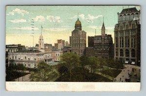 City Hall, Newspaper Row, Vintage New York City New York Postcard