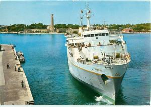Brindisi Harbour Ship Truna Getting Ready to Dock South Pacifi  Postcard  # 8432