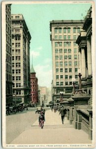 Kansas City Fred Harvey Postcard H-2139 Looking West on 9th from Grand c1918