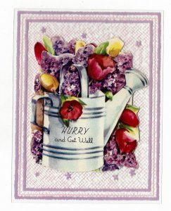 Clear Plastic Get Well Greeting Card w Diecat Paper Fold Out Vintage 1950s
