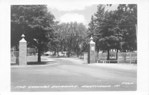 Monticello Iowa Fair Grounds Entrance~Pavilions in Distance~Opened Gates~RPPC
