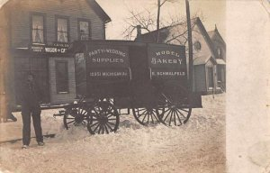 Bakery Delivery Wagon Party Wedding Supplies Real Photo Vintage Postcard AA5579