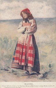AS: Waiting, 1900-10s; Young Maiden standing with arms crossed