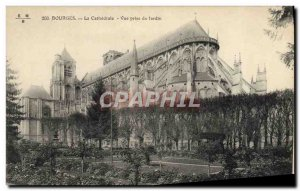 Old Postcard Bourges The Cathedral View from the garden