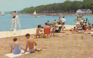 New York Chautauqua College Club Bathing Beach Shore Line Showing Sports Club...