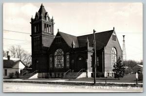 Riceville Iowa~Congregational Church~House Next Door~Railroad Crossing~1962 RPPC