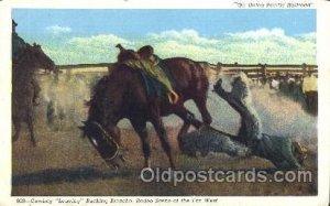 Bucking Broncho Western Cowboy, Cowgirl Unused light corner wear, light yello...