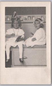 RPPC-Belleville, Wis., 2 cute girls in white dresses-Mona & Geneva