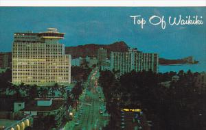 Dramatic Night View, Kalakua Avenue, Top of Waikiki, Oahu, Hawaii, 40-60s