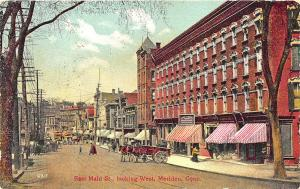 Meriden CT West Main Street Trolley Horse & Wagon Store Fronts Postcard