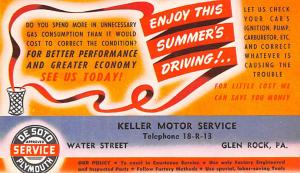 De Soto Plymouth Service, Keller Motor Service Advertising Unused
