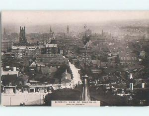 old rppc AERIAL VIEW OF TOWN Sheffield - South Yorkshire - England UK HM2215