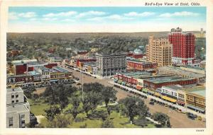 Enid Oklahoma~Bird's Eye View Overlooking City~Downtown District~1940s Linen