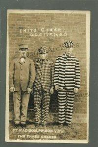Fort Madison IOWA RPPC c1910 PRISONERS Prison Penitentiary UNIFORMS Guide Grades