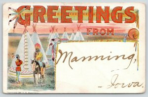 Manning Iowa~Indian Headdress Large Letter Greetings~Embossed~Gold Font~c1908