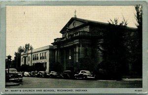 Richmond, Indiana Postcard ST MARY'S CHURCH AND SCHOOL Street View 1946 Cancel