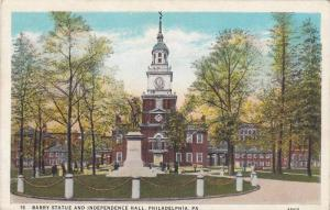 Barry Statue And Independence Hall, Philadelphia, Pennsylvania, 1910-1920s