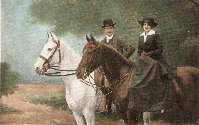 Romance.Couple in their horses Nice old vintage German postcard