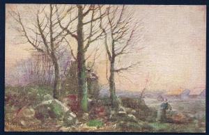 Late Fall Woman Harvesting Leafless Trees unused c1910's