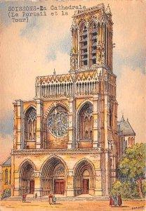 La Cathedrale, Le Portail et la Tour Soissons France Unused