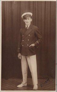 Portrait of Man Navy ? Military Hat RPPC Banfield Studios Mumbles Postcard F63