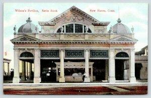 New Haven CT Man Slouches Against Wilcox Pavilion Pillar~Beaux Arts~Domes~c1910