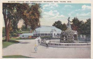 Ohio Toledo Opitz Fountain And Conservatory Walbridge Park 1921