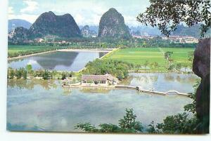 Postcard lotus Pond Aerial View Flower Farming China Asia  # 3682A