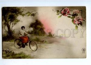 177325 Woman on BICYCLE Roses Vintage PHOTO COLLAGE PC