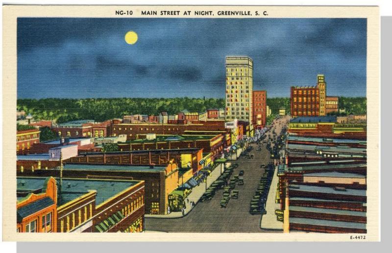 Greenville, SC Postcard, Main Street At Night, Near Mint!