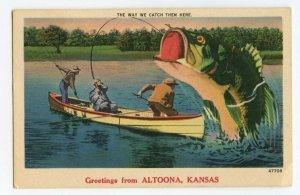 Postcard Greetings From Altoona Kansas Big Fish Exaggeration Standard View Card
