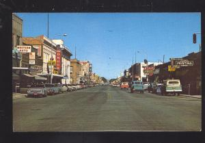 SHERIDAN WYOMING DOWNTOWN MAIN STREET SCENE 1960's CARS VINTAGE POSTCARD