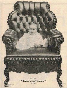 1903 Adorable Baby Harris Leather Furniture Original Print Ad 2T1-47