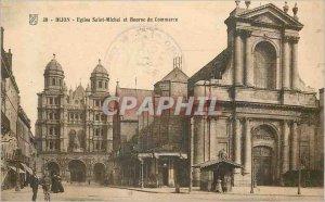 Old Postcard Dijon Eglise Saint Michel and Trade Exchange