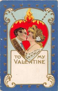 F4/ Valentine's Day Love Holiday Postcard c1910 KISS Flaming Heart 19