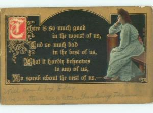 Divided-Back PRETTY WOMAN Risque Interest Postcard AA7803