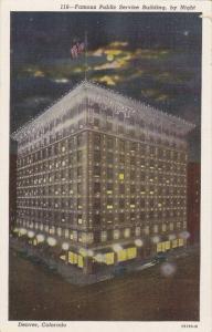 Night Scene,Famous Public Service Building, Denver, Colorado,30-40s