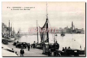 Old Postcard Cherbourg harbor L Front and New Harbor station