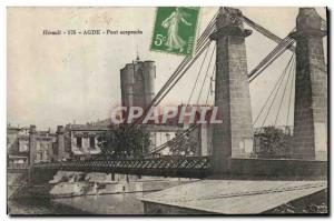 Old Postcard Agde Suspension Bridge
