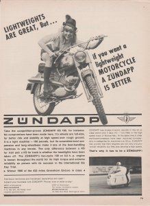 Zundapp KS 100 Motorcycle 1966 Print Ad, German Blonde Girl Rider