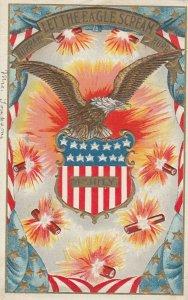 4th of JULY , Eagle & fireworks , 1908