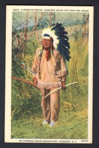 Native American N332 A Primitive Hunter, Cherokee Indian with bow and arrow
